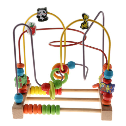 Wooden Fruits Bead Maze Roller Coaster Activity Educational Abacus Beads Toy