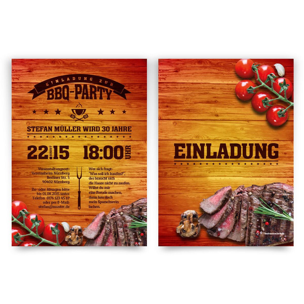 Einladungskarten zum Geburtstag im BBQ Design Barbecue Grill Steak Essen grillen | Attraktives Aussehen  | Deutschland Outlet