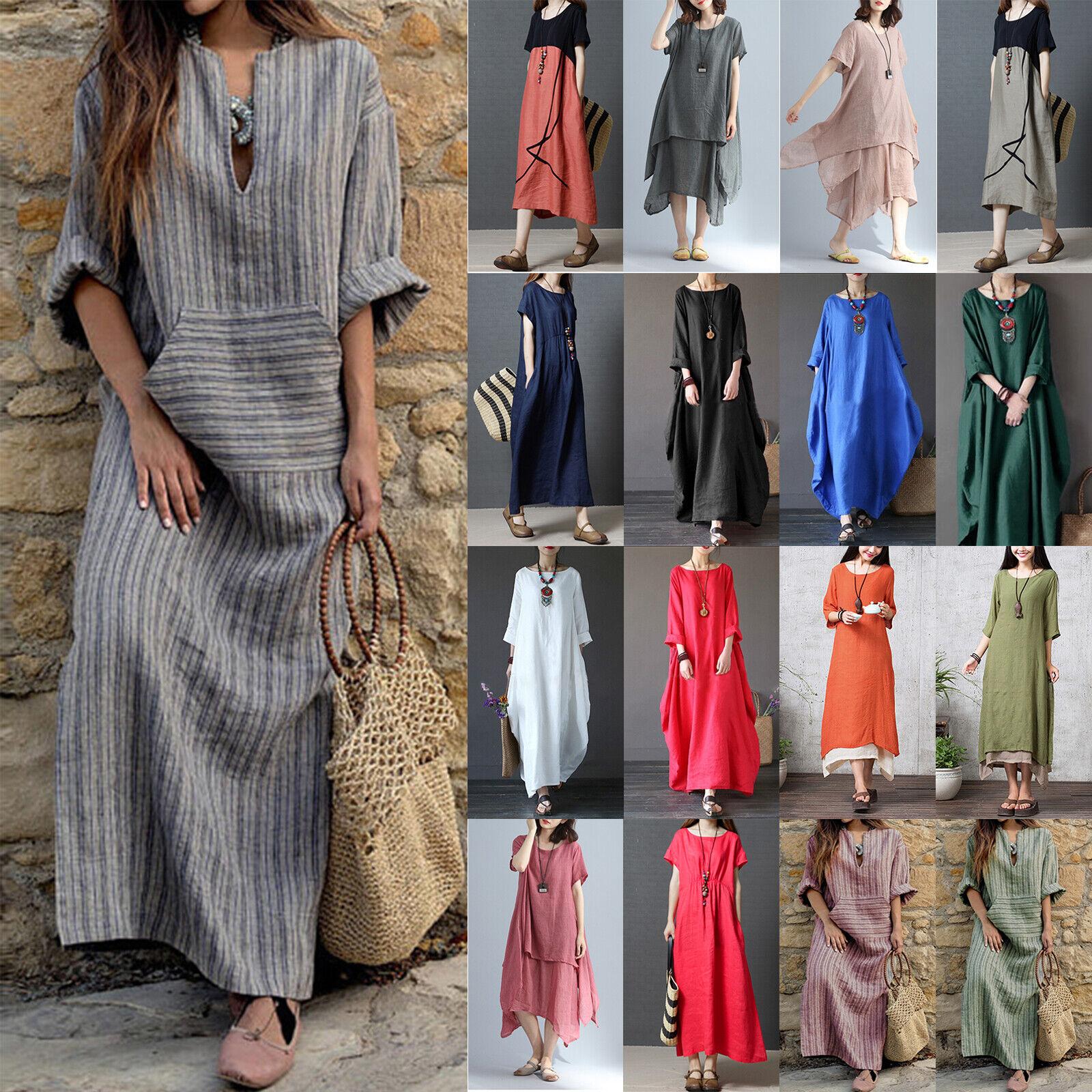 Women Cotton Linen Maxi Shirt Dress Boho Loose Kaftan Tunic Baggy Dresses Retro