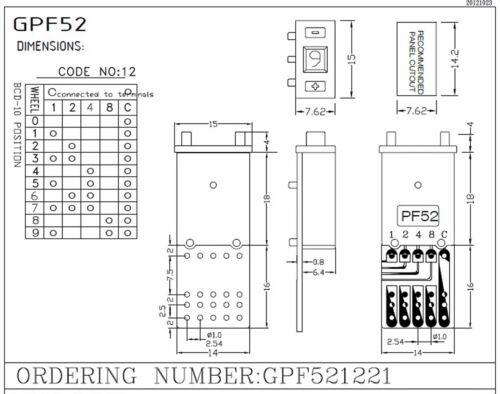 Cap PF52 0~9 Scale Setting H=15mm Hampolt 1set Pushwheel BCD Switch 8-Digit