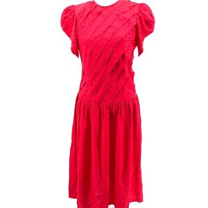 Vintage-Adrianna-Papell-Dress-sz-10-Red-100-Silk-Pleated-Front-with-Pockets