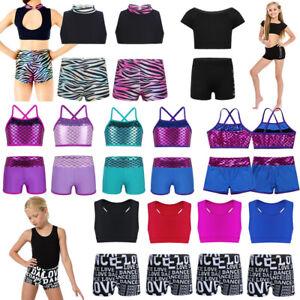 b3ed6333e12e Girl Kid Dance Sport Outfit Crop Top+Shorts Ballet Gymnastics ...