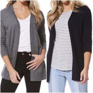 New-Ladies-NAVY-GREY-Edge-to-Edge-Knit-Cardigan-Size-6-22