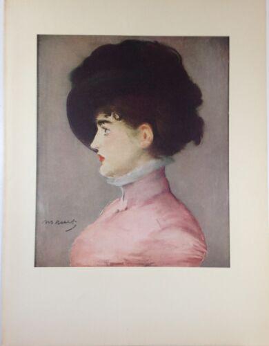 "1953 Vintage Full Color Art Plate /""PORTRAIT IRMA BRUNNER/"" Manet Lithograph Litho"