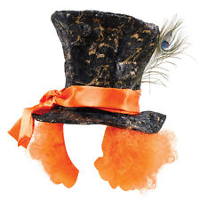 Adult Mad Hatter Top Hat With Orange Wig Hair Fancy Dress Costume Accessory Prop