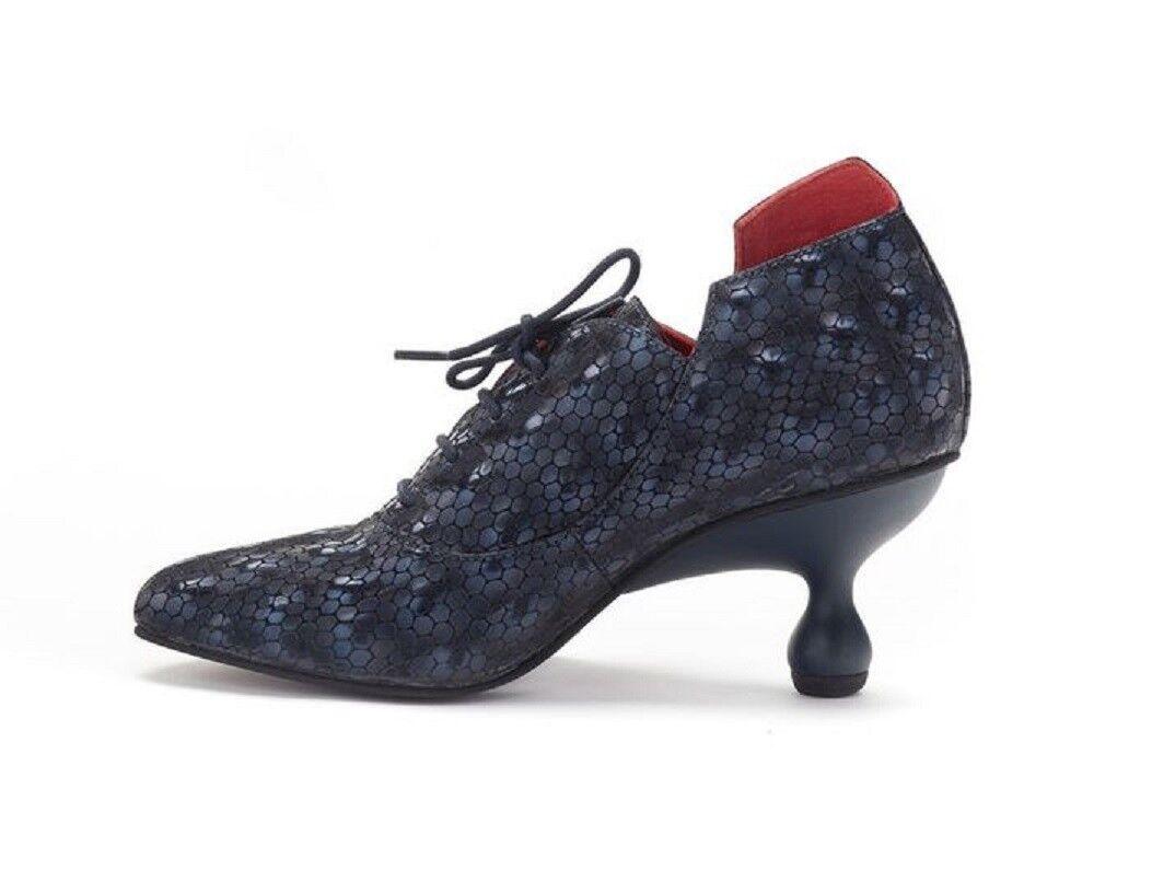 LISA TUCCI Schnür-schuh 3-D-Optik Leder Blau Halbschuh Stiefel Schuh blue