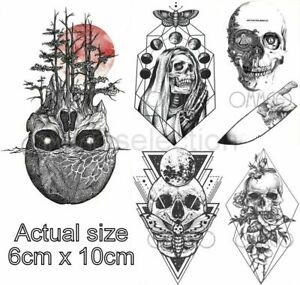 Skull Tattoo Hand Body Men Women Small Black Skeleton Halloween Party Ebay