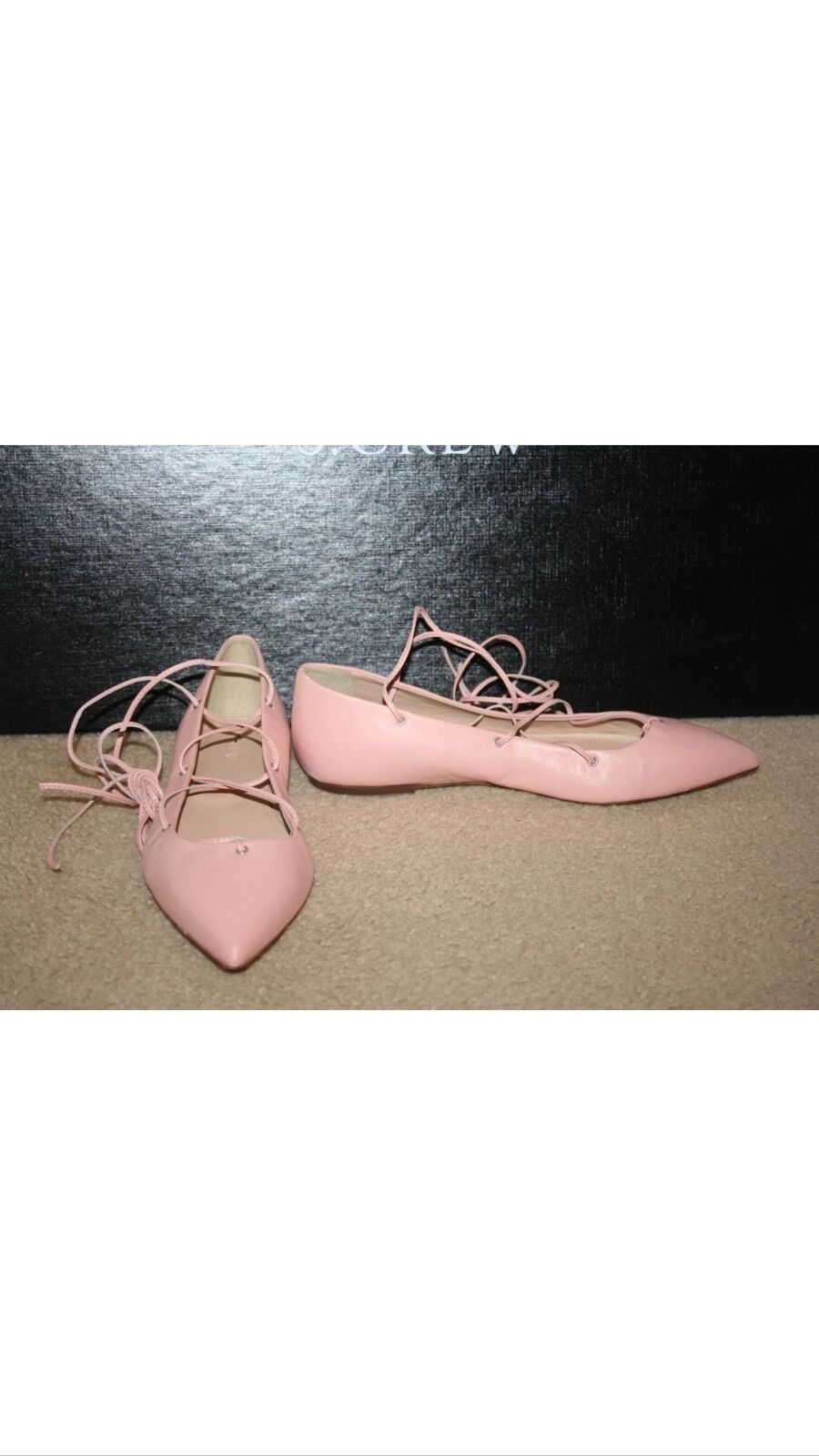 J.CREW LEATHER LACE-UP PAGODA BALLET FLATS SZ 6 PAGODA LACE-UP PEACH F0281 c912b2