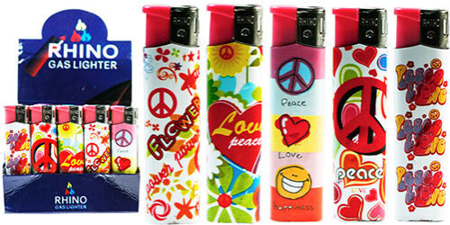 Rhino-Y140-large-lighters-lot-of-five-assorted-normal-flame-Hippy-peace-Love