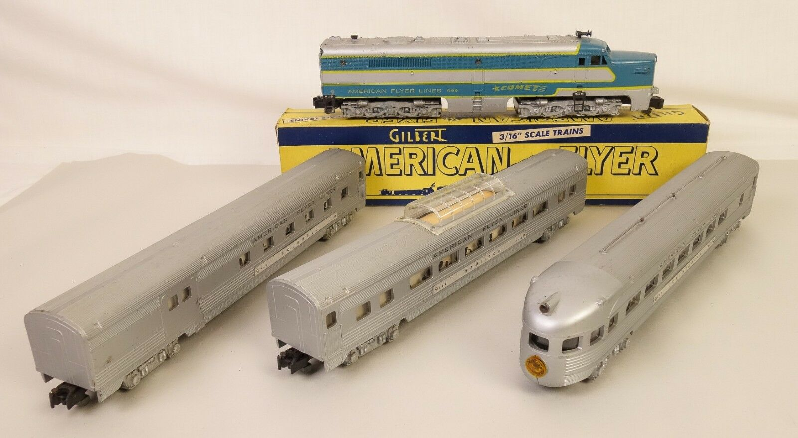 American Flyer 5334T cometa Diesel Set W468 Diesel & Pass. Cars-Bonito Original
