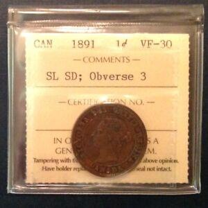 Canada-One-Cent-1891-SL-SD-Obverse-3-Victoria-ICCS-Graded