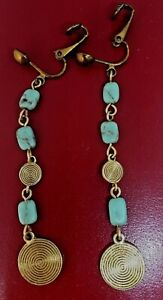 ANTIQUE-GOLD-COLOURED-TORQUOISE-DROP-EARINGS