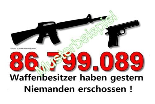SECHS 6 Gagkarten Waffen Gewehr Pistole Revolver Paintball Munition Wiederladen
