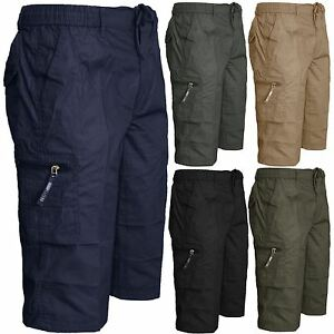 Nuevo-pantalon-corto-para-hombre-Plain-3-4-Verano-Cintura-Elastica-Pantalones-Cargo-Combate-Largo-3