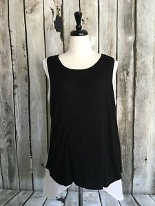 Everleigh-Black-White-Hi-Low-Mixed-Knit-Blouse-Top-Sleeveless-Chiffon-Womens-XL