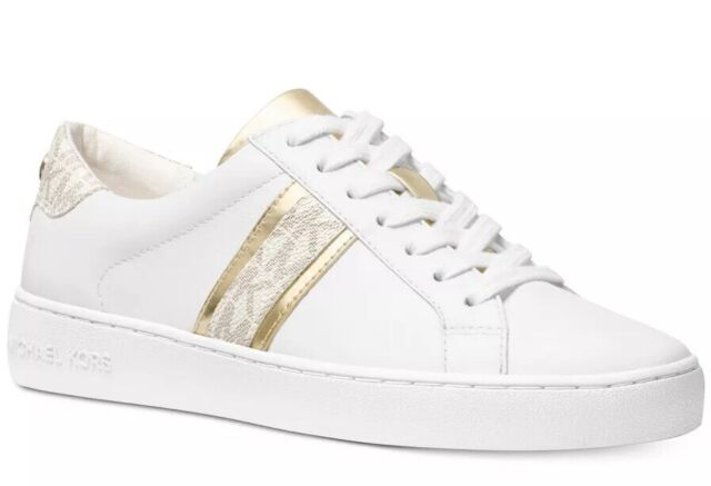 Michael Kors Irving Lace Up Sneaker Optic White Brown in
