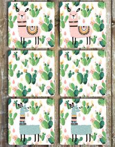 Llama-and-Cactus-Coasters-Set-of-6-Non-Slip-Neoprene