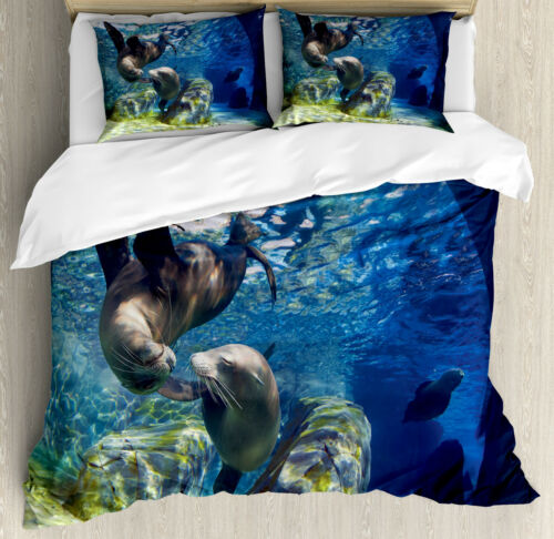 Underwater Duvet Cover Set with Pillow Shams Playful Sea Lions Print