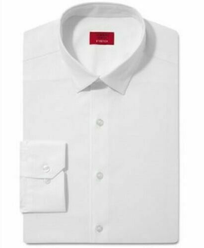 ALFANI RED Solid White Stretch Slim Fit Button Down Dress Shirt Sm S 14 32/33