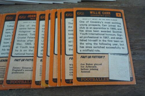 First Series VGC Pick The Cards You Need A/&BC Orange Back Football Cards 1970