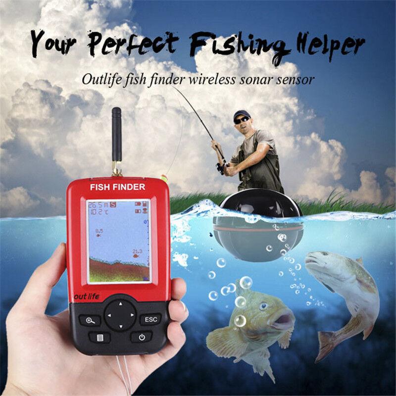 Portable 100M Smart Fish Finder Wireless Remote Sonar Sensor Fishing Helper LCD