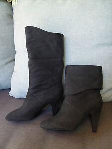 GUESS boots bottes talon cuir nubuck Noir T 40 BON ETAT