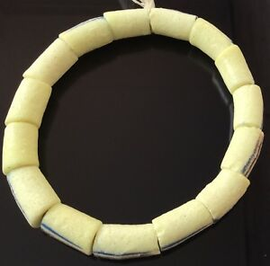 Handmade-African-cream-Krobo-recycled-glass-Short-strand-African-Trade-Beads