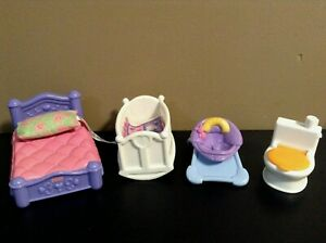 MY FIRST DOLLHOUSE FURNITURE LOT CRIB BED BABY SEAT FISHER PRICE
