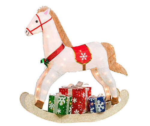 Lighted Rocking Horse Toy Sculpture Outdoor Christmas Decor Holiday Yard Art