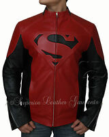 NEW SUPERMAN MAN OF STEEL SMALLVILLE BLACK AND RED LEATHER SHIELD JACKET