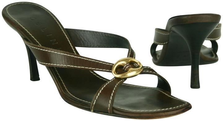 CELINE BROWN LEATHER SLIDES SANDALS SHOES MULES WITH gold BUCKLE ON TOES SIZE 39