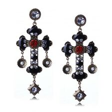 Vintage style tibet silver rhinestone cross faith charm stud earrings for women