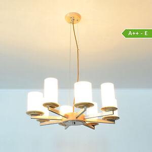 deckenlampe led pendelleuchte deckenleuchte modika 8fl holz edlestahl lampe ebay. Black Bedroom Furniture Sets. Home Design Ideas