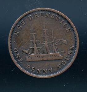 NB-2A-One-penny-token-1843-Canada-Nouveau-New-Brunswick-Breton-909-AB225
