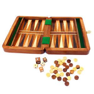 Backgammon-Set-de-Viaje-Tablero-de-Madera-Tallado-a-Mano-Juego-Vintage-Plegable
