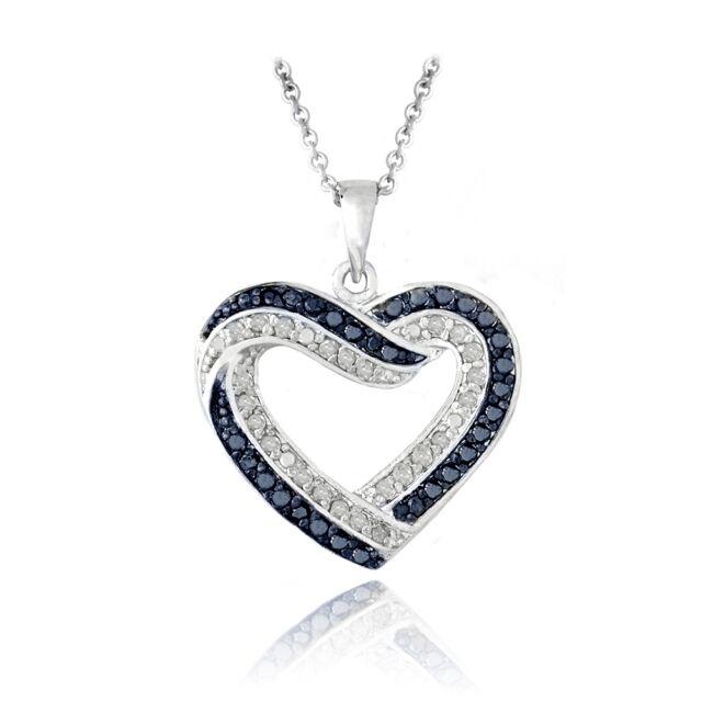 0.50ct TDW Blue & White Diamond Open Heart Necklace in Brass