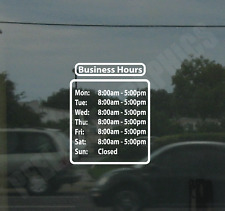 Business Hours Custom Window Door Glass Store Vinyl Decal Sign Sticker Style 7