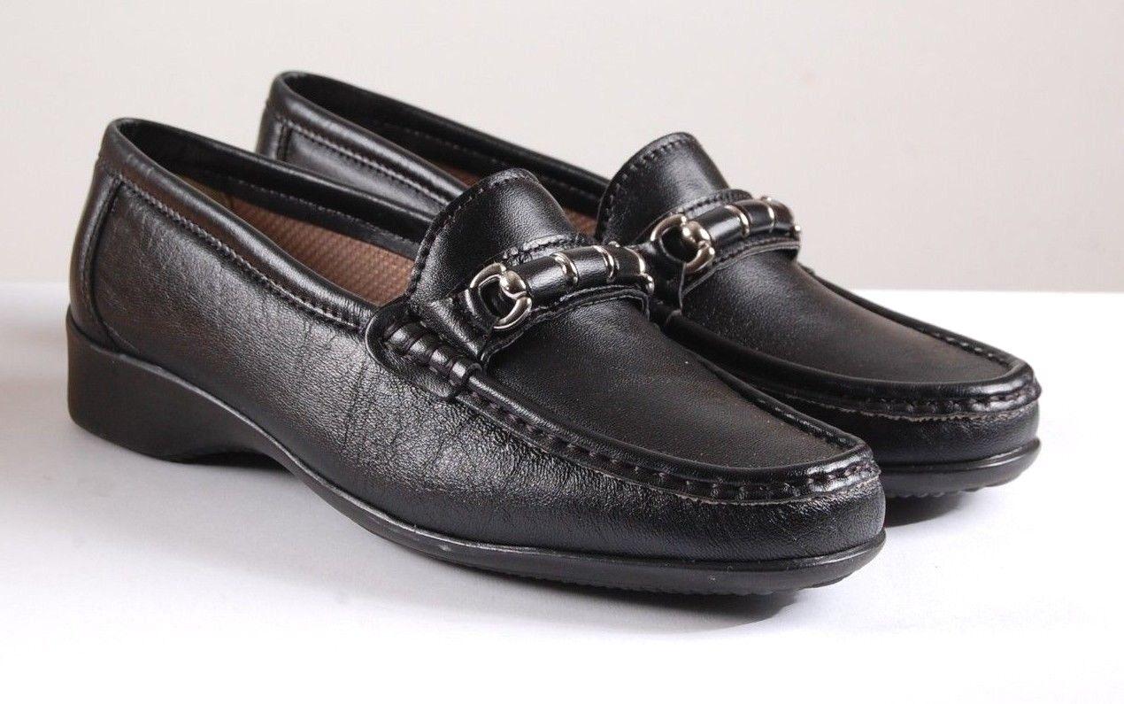 Cotswold Cotswold Cotswold Barrington Negro Cuero Planos Damas Cordones Mocasín Zapatos EUR 38 UK 5  apresurado a ver