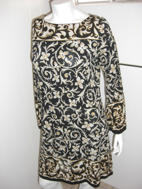 Nicole Miller Collection Black Print Silk Dress Size Med
