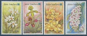 LAOS-N-1371-1374-Fleurs-orchidees-2000-Flowers-Orchids-Set-MNH