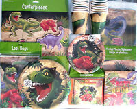 Dino Blast Dinosaur Happy Birthday Party Supply Super Kit W/centerpiece & Invite