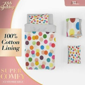 Color Dots Kids Colourful Doona Cover Sets Single Double Queen King Size
