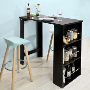 Détails sur SoBuy® Table Haute de Bar Mange-debout Cuisine avec  rangements–Noir,FWT17-SCH,FR