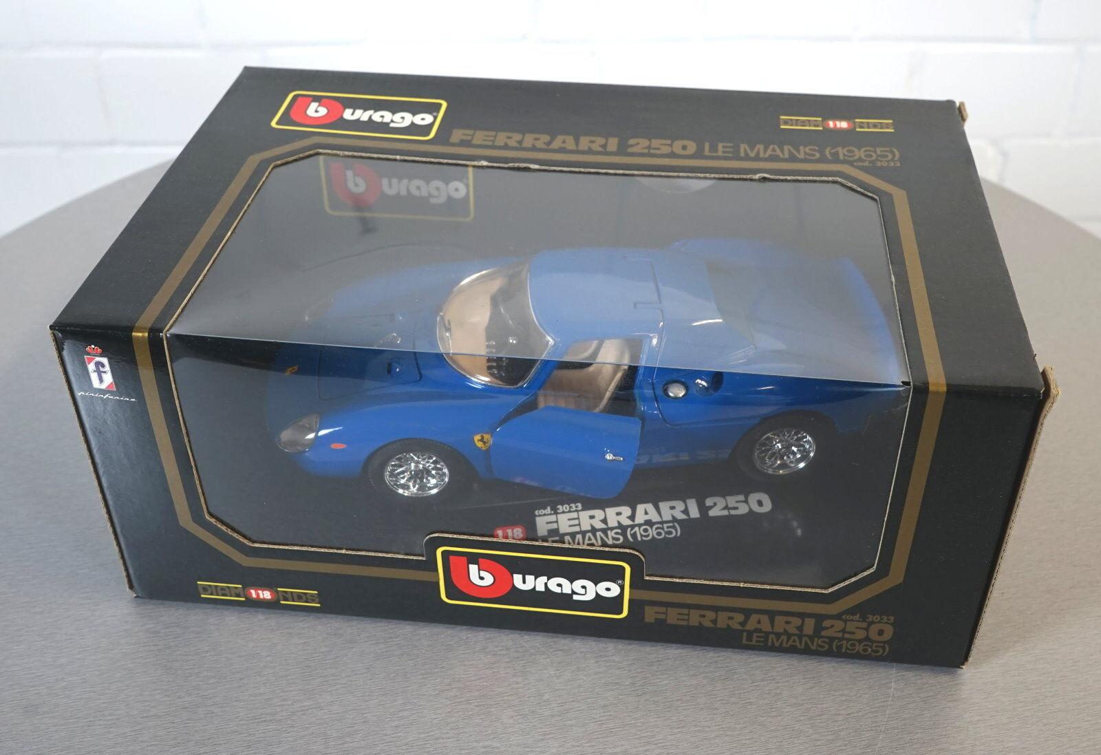 BURAGO 1 18 FERRARI 250 Le Mans (1965) blu -3033 - Die-Cast Modello Auto Nuovo OVP