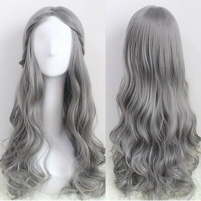 Cosplay Party Glamour Gray Hair Harajuku Wig Long Wavy Curly Hair Parted Bangs