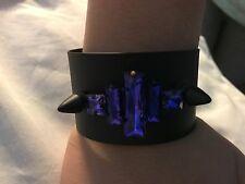 Noir Cuff Nightfall Bracelet BLUE Black Plating Crystal Spike Punk Solid Brass