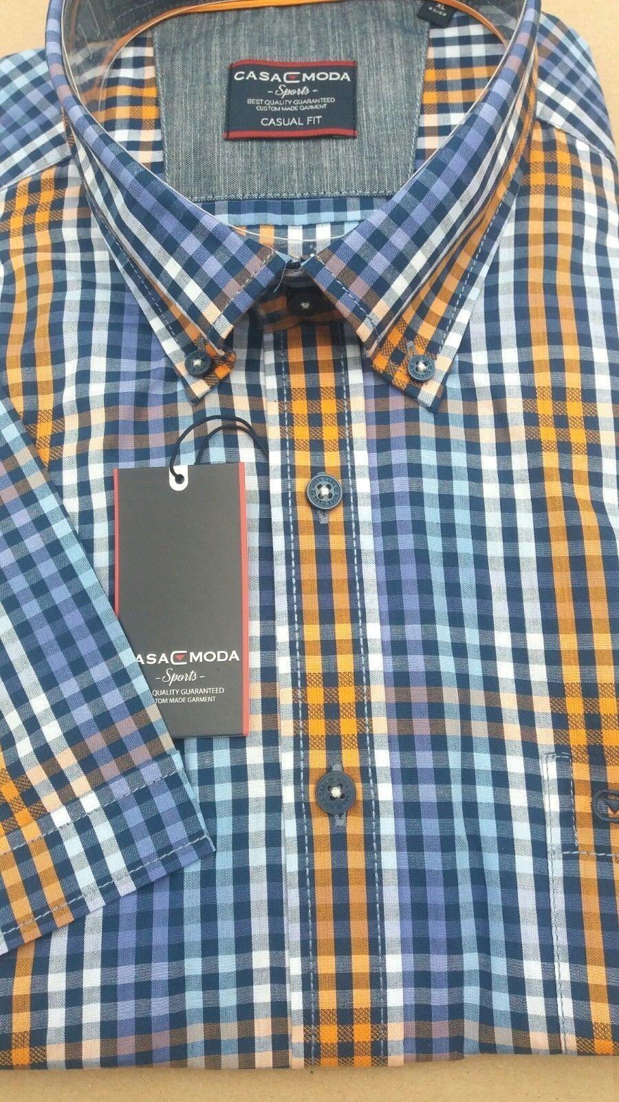 CASA MODA Blu Arancione controllare manica corta Camicia 2XL 3073516 3073516 3073516 2xl 3XL4XL5XL6XL 7XL f7dd81