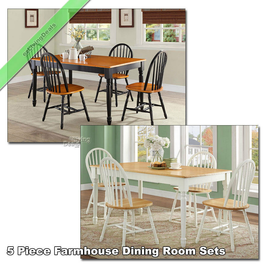 5 Pc Black White Dining Room Set Furniture Dinette Kitchen: Farmhouse Dining Room Set 5 Pc Table 4 Chairs Wood Country