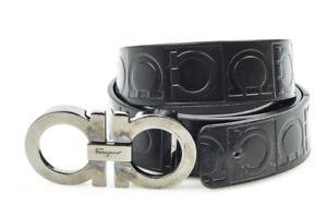 Salvatore-Ferragamo-Double-Gancini-black-40-leather-embossed-buckle-belt-375