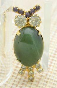 Green-Agate-Rhinestone-Owl-Gold-Tone-Pin-Brooch-Vintage